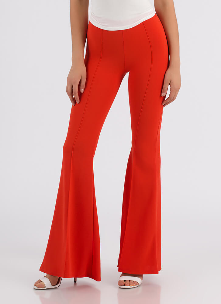 Bring Me Back Pleated Bell-Bottom Pants RED
