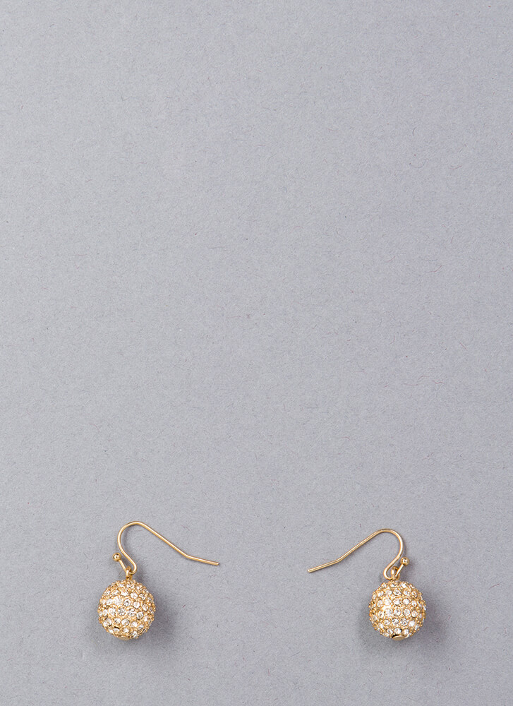 Gather Round Jeweled Ball Charm Earrings GOLD