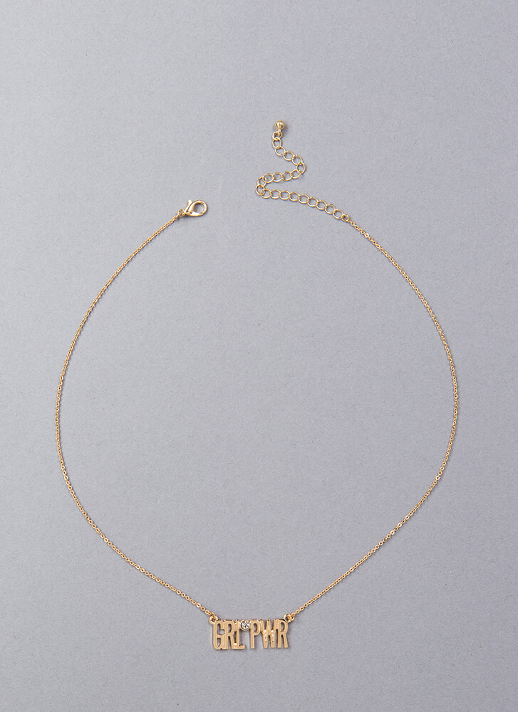 Girl Power Jeweled Necklace GOLD