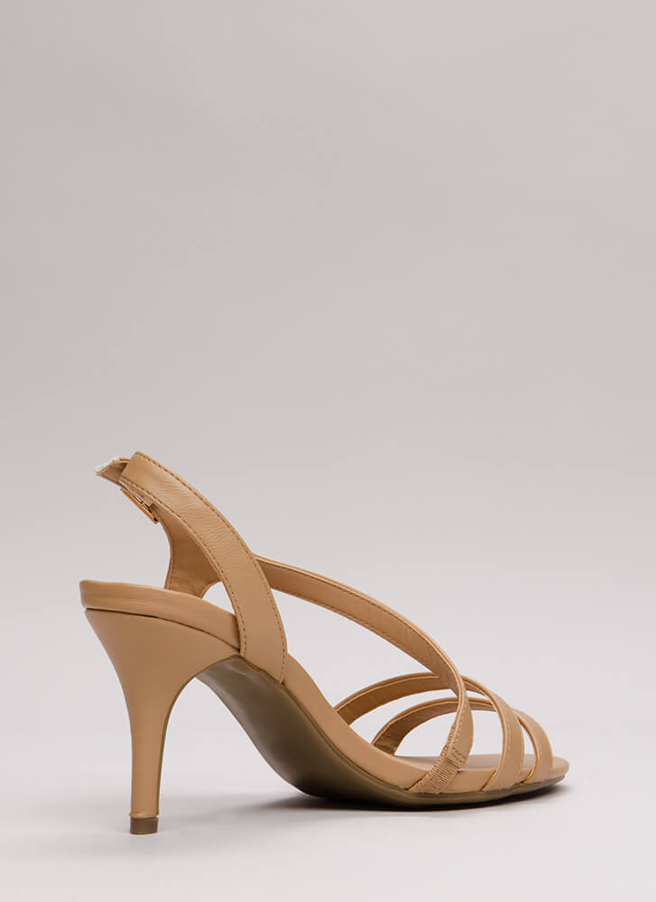 One Swoop Strappy Faux Leather Heels NATURAL