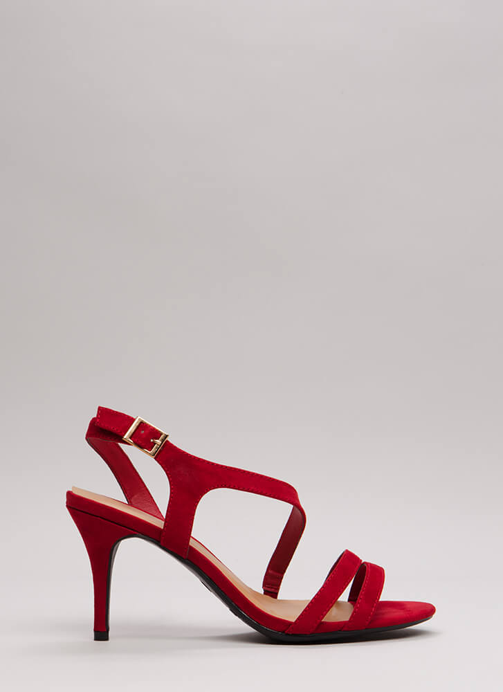One Swoop Strappy Faux Suede Heels RED