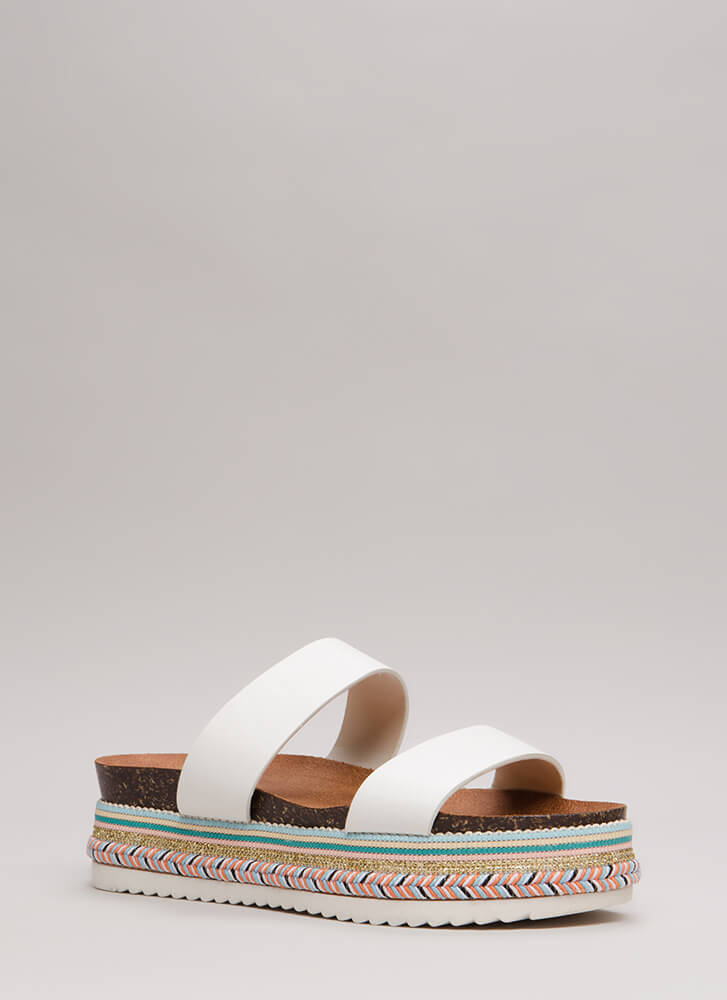 On Vacay Embellished Wide Strap Slides WHITE