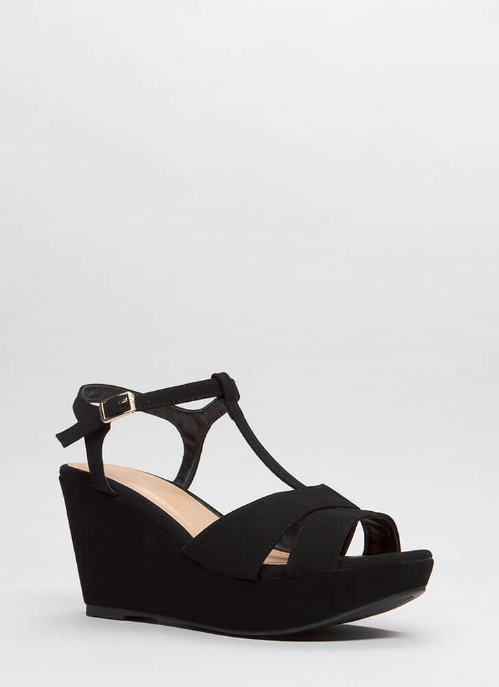 Day Off Faux Nubuck Platform Wedges BLACK