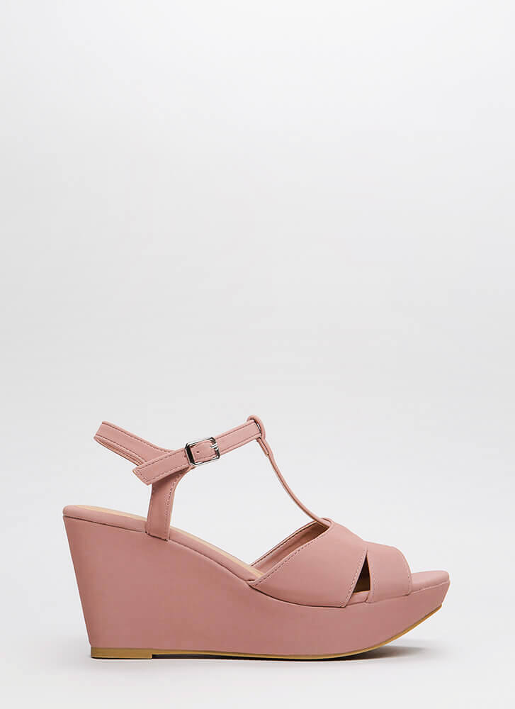 Day Off Faux Nubuck Platform Wedges MAUVE