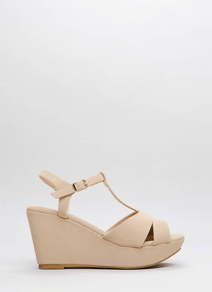 Day Off Faux Nubuck Platform Wedges NUDE