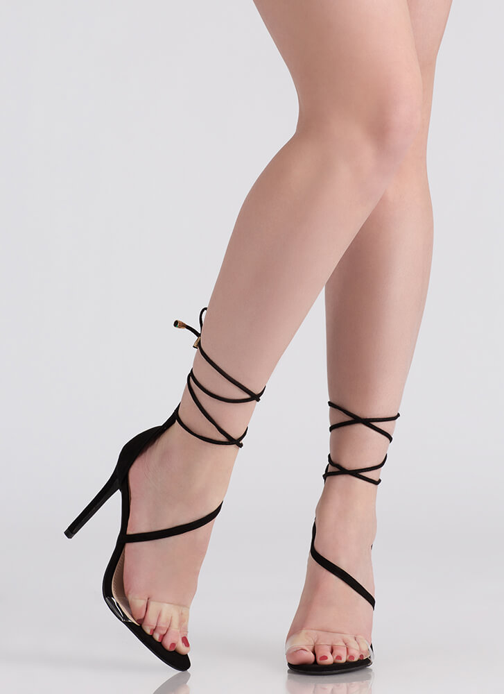 Clear The Way Tied Faux Suede Heels BLACK
