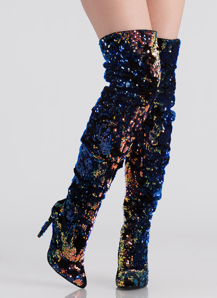 Sequined Soiree Velvet Thigh-High Boots GREEN