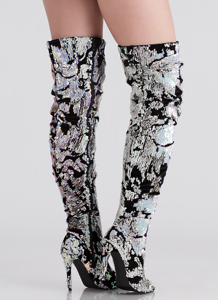Sequined Soiree Velvet Thigh-High Boots PINK