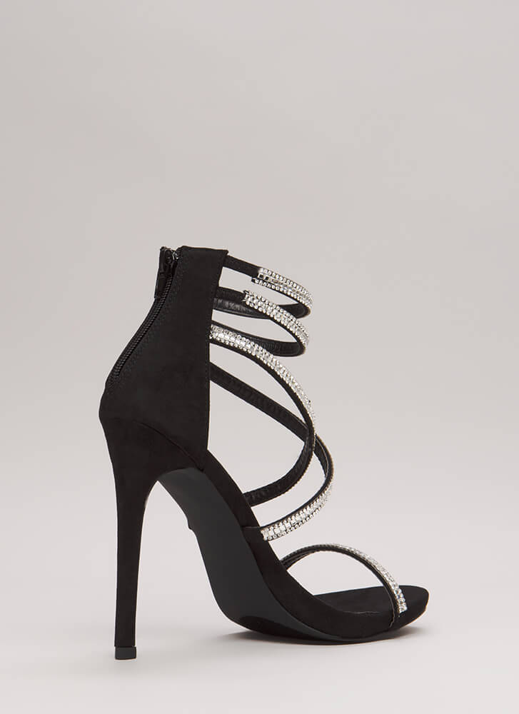Luxe Life Strappy Jeweled Caged Heels BLACK