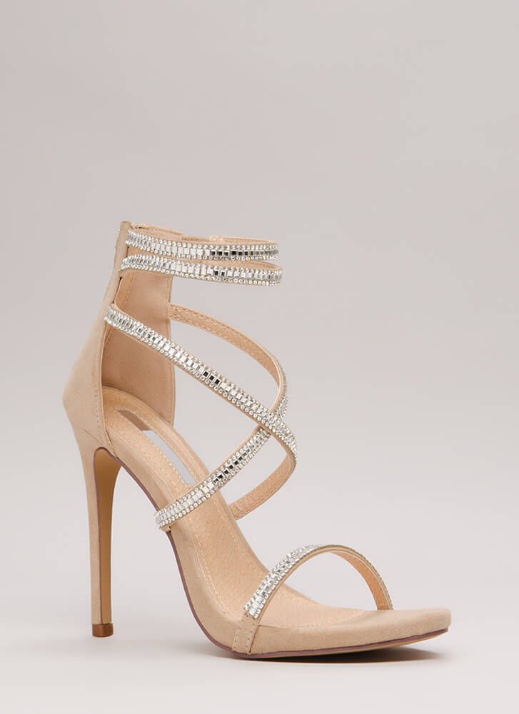 Luxe Life Strappy Jeweled Caged Heels NUDE