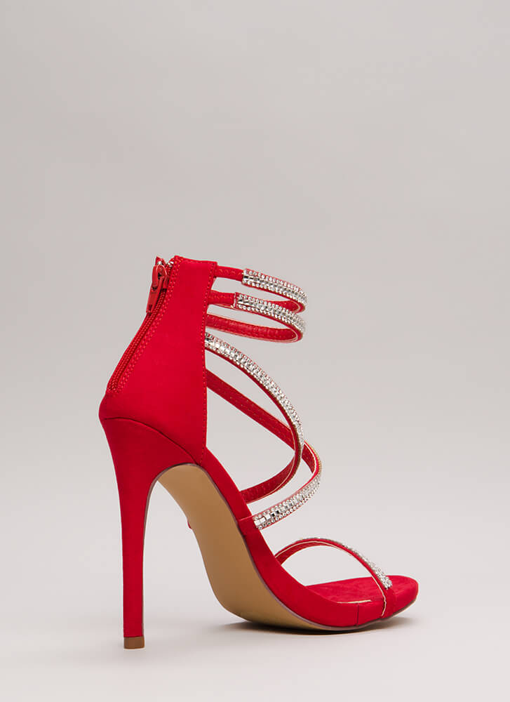 Luxe Life Strappy Jeweled Caged Heels RED