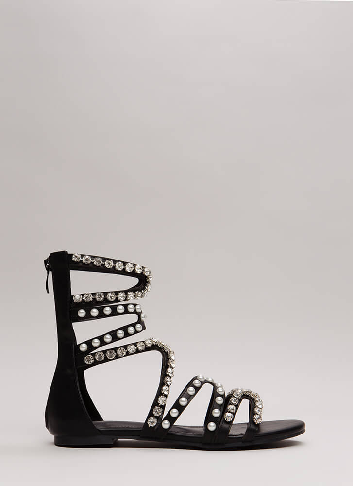 Precious Pearl Jeweled Gladiator Sandals BLACK