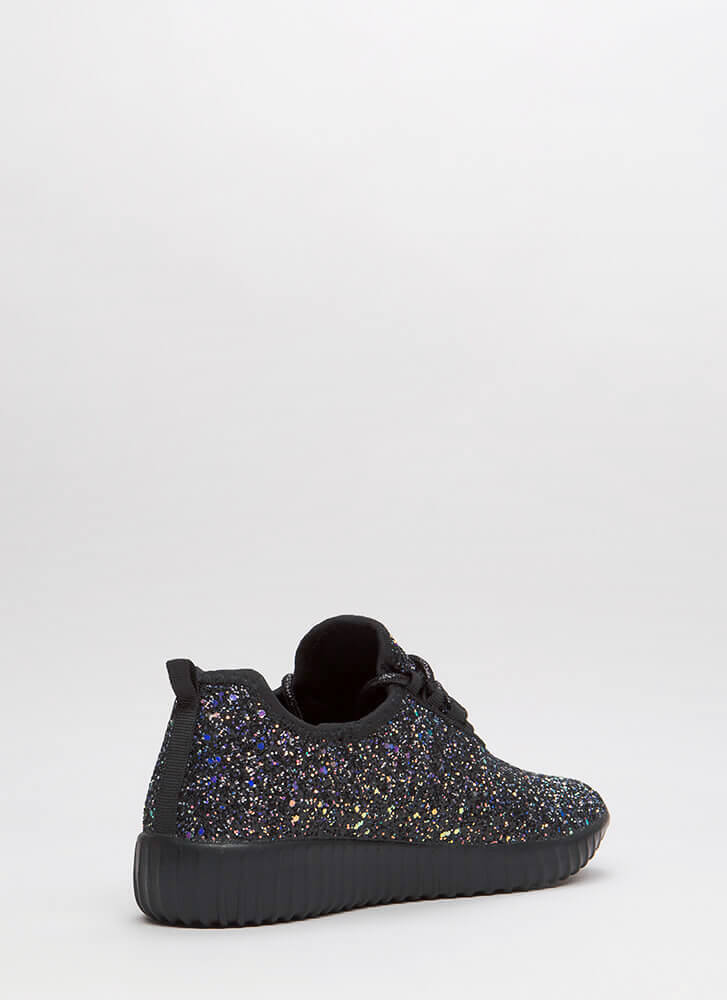 Run Toward Glitter Platform Sneakers BLACK
