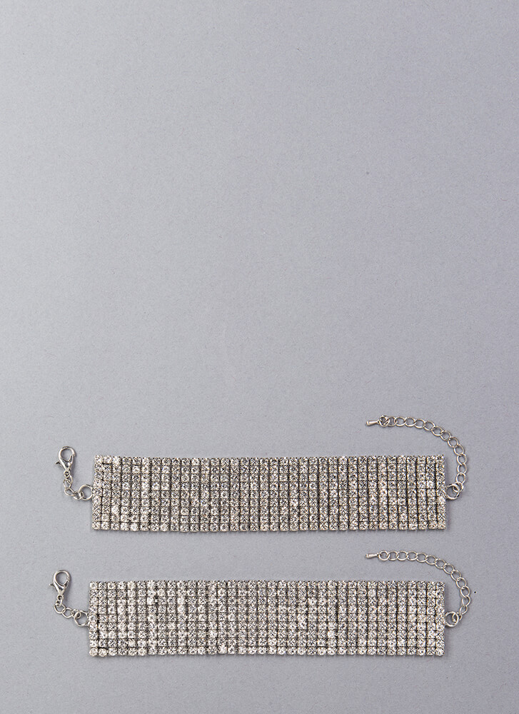 Sparkles Jeweled Ankle Bracelet Duo SILVER