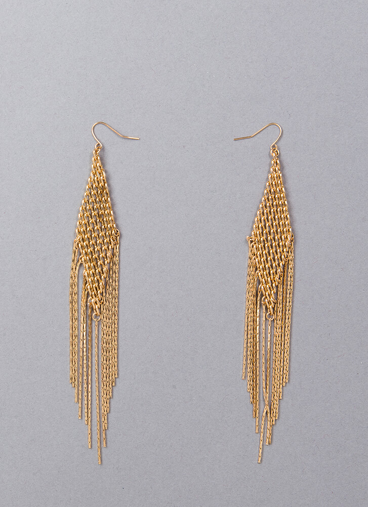 Answer Your Chainmail Fringe Earrings GOLD