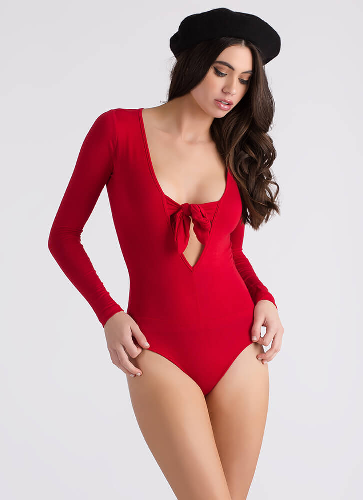 Meet Cute Tied Bow-Front Bodysuit RED