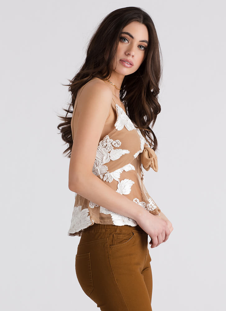 So Dreamy Tied Embroidered Top BEIGE (Final Sale)