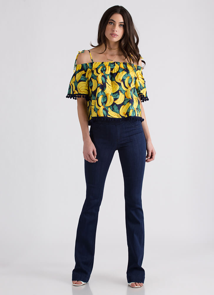 Going Bananas Tied Pom-Pom Trim Top NAVYYELLOW