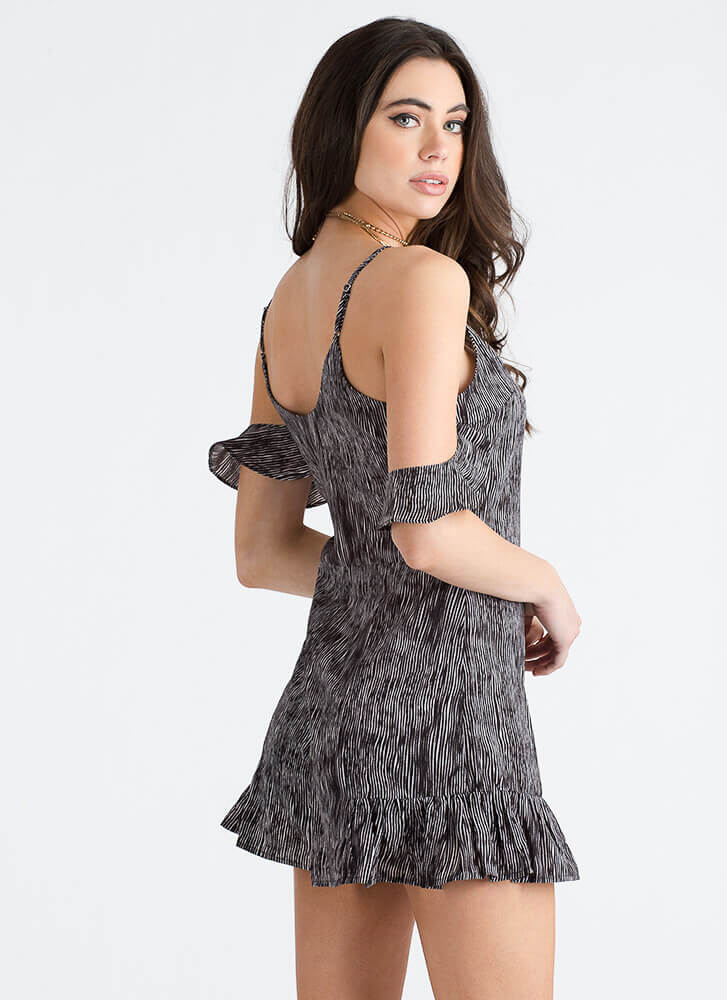 Streak Out Ruffled Cold-Shoulder Romper BLACKWHITE
