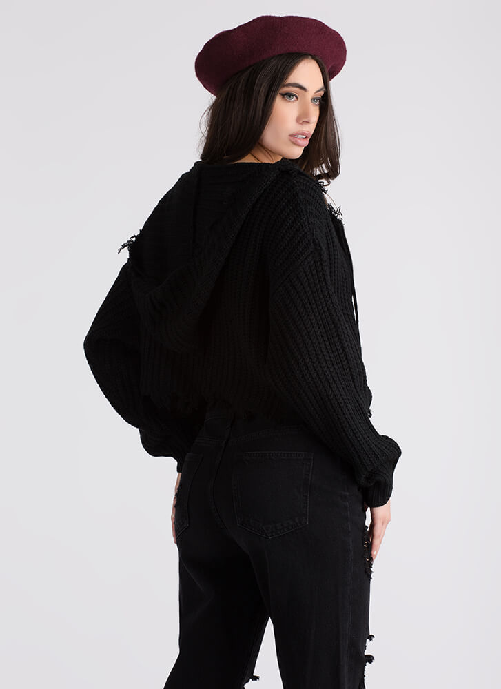 Fringe With Benefits Zip-Up Knit Sweater BLACK
