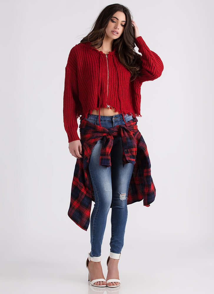 Fringe With Benefits Zip-Up Knit Sweater RED