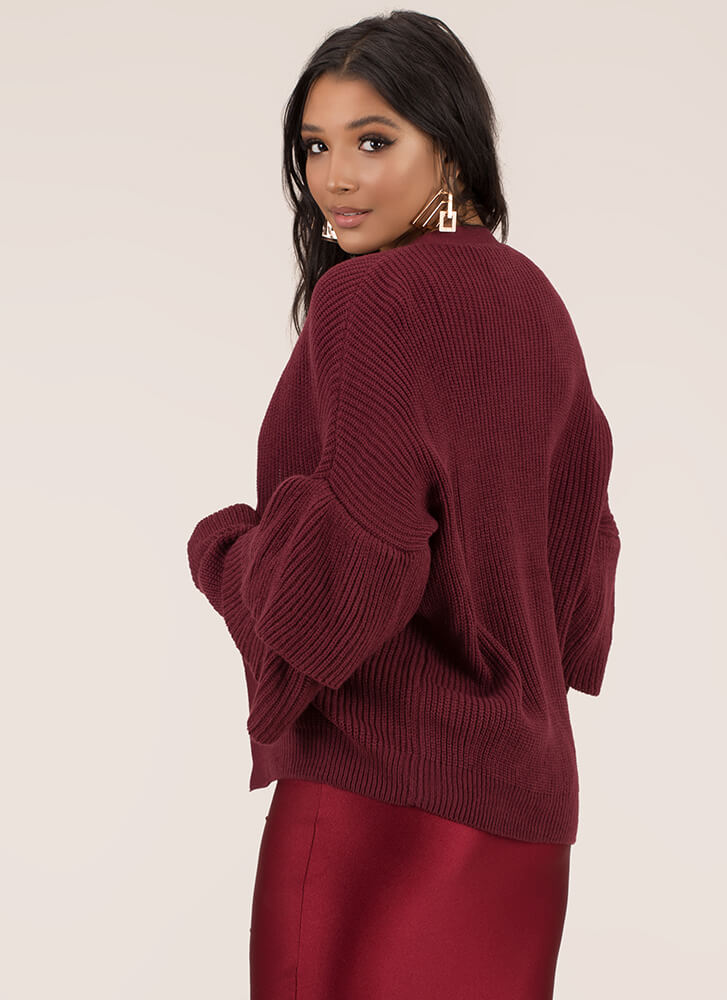 Double Time Ruffle Sleeve Knit Cardigan BURGUNDY