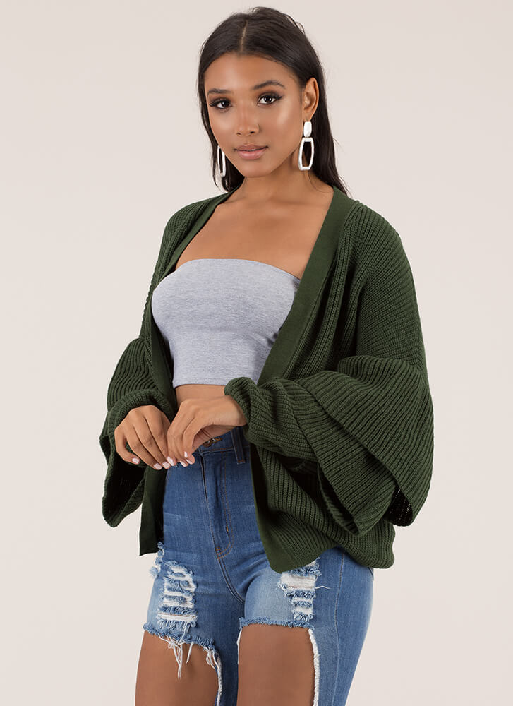 Double Time Ruffle Sleeve Knit Cardigan HUNTERGREEN
