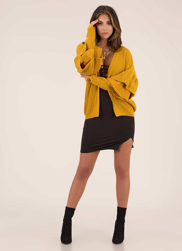 Double Time Ruffle Sleeve Knit Cardigan MUSTARD