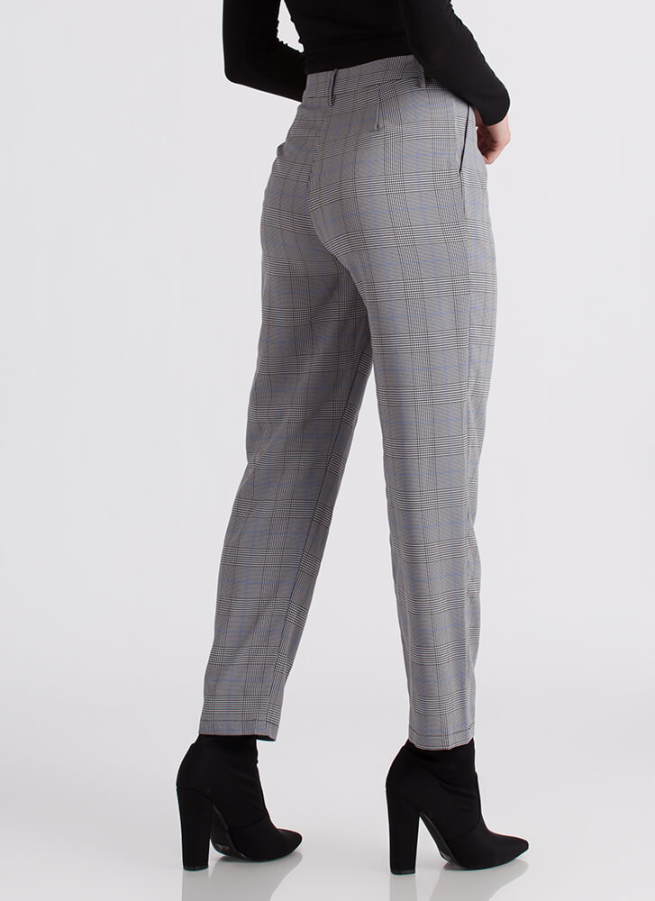 Plaid And Boujee Grid Print Trousers BLACKBLUE