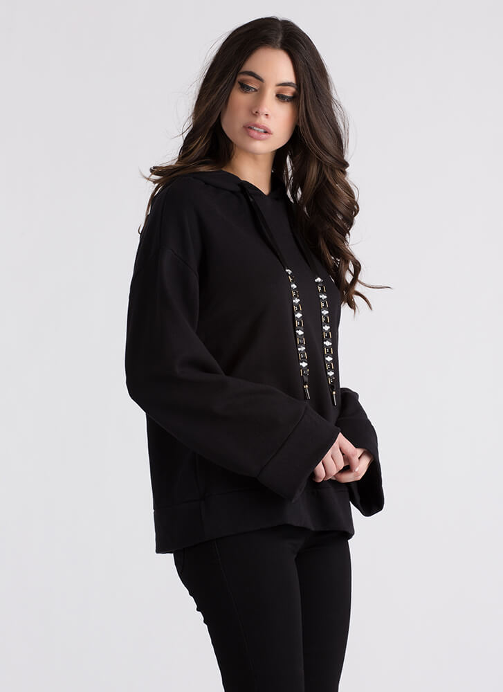 Shine Through Jeweled Drawstring Hoodie BLACK
