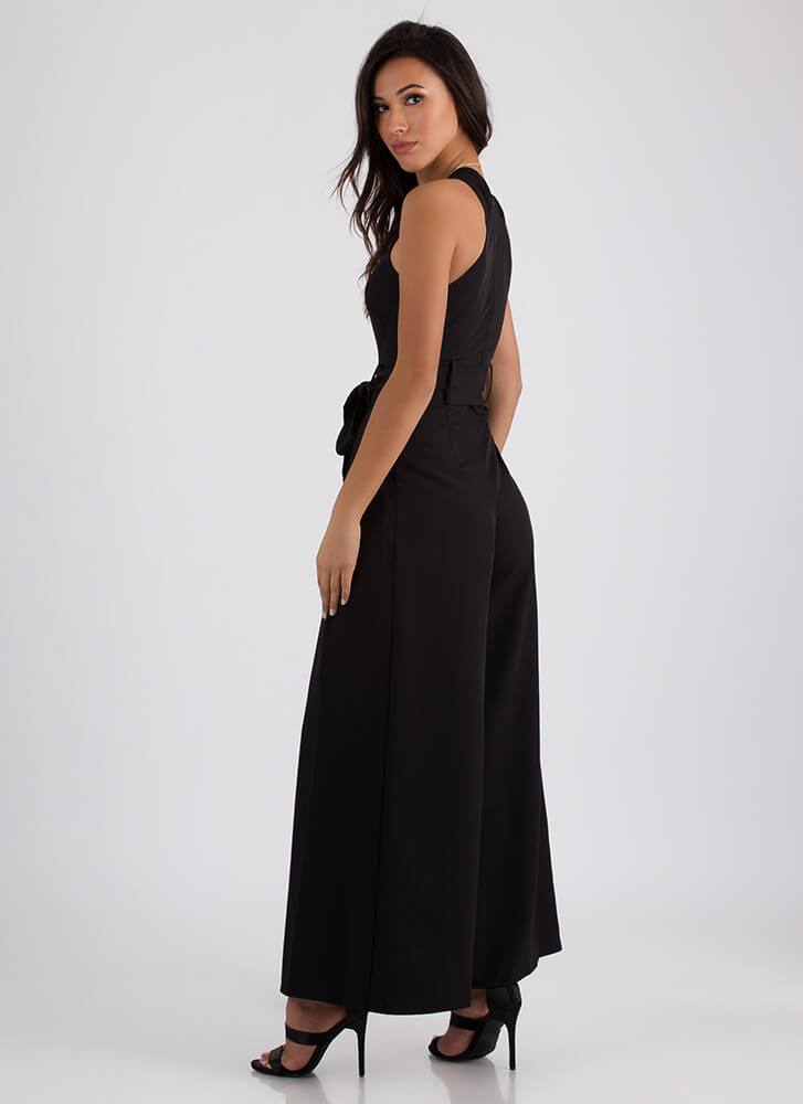 Cross Your Mind Cut-Out Palazzo Jumpsuit BLACK