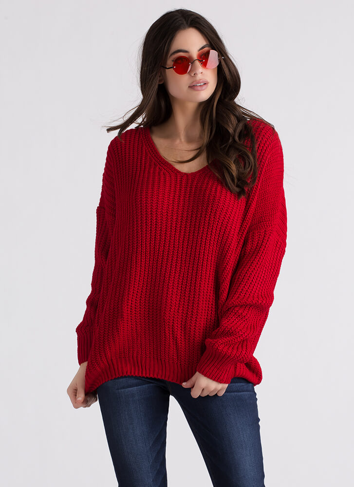 Turn Around Knit Lace-Back Sweater RED
