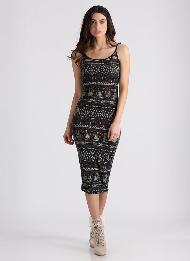 Print Job Sparkly Tribal-Inspired Dress TEALMULTI