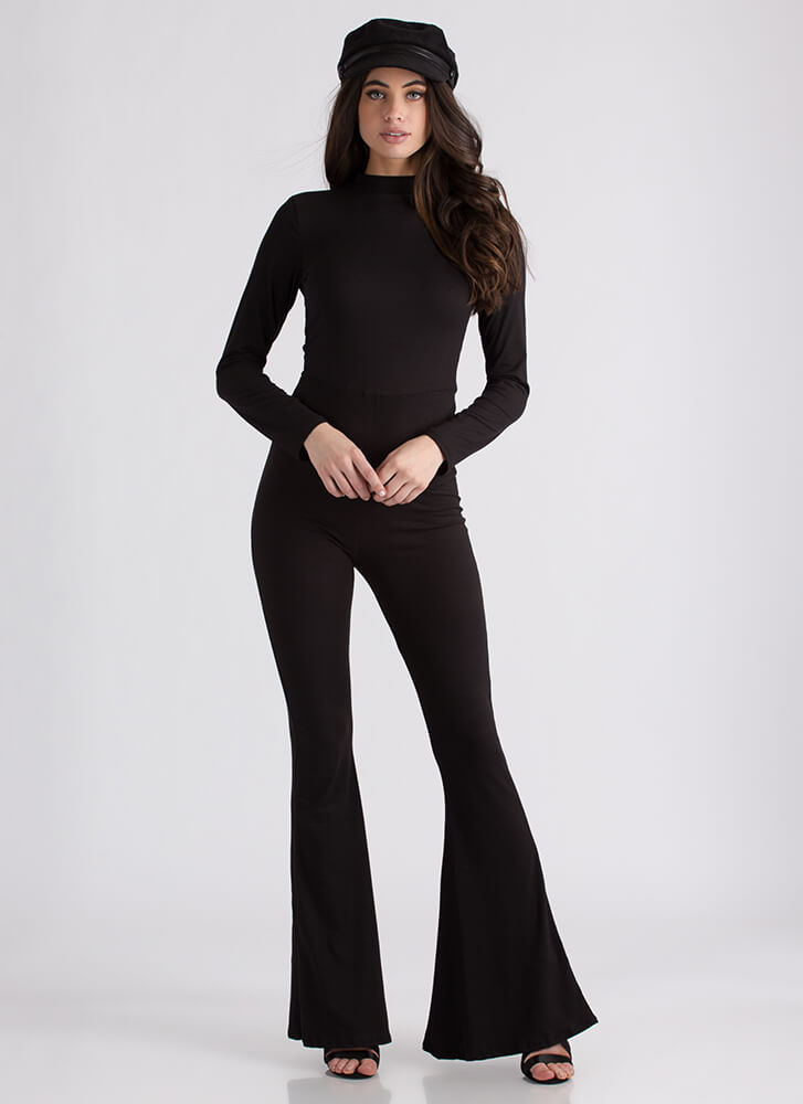 Flare For Drama Bell-Bottom Jumpsuit BLACK