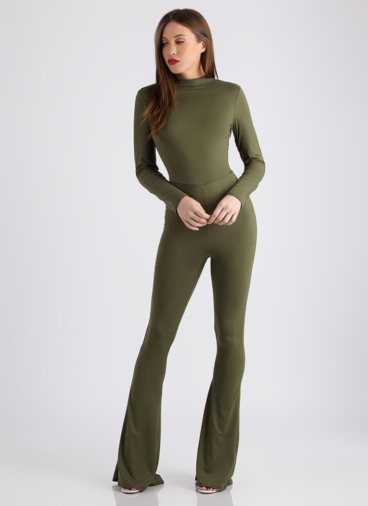 Flare For Drama Bell-Bottom Jumpsuit OLIVE