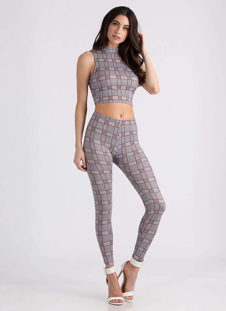 Checker This Out Top And Legging Set BLACKRUST (Final Sale)