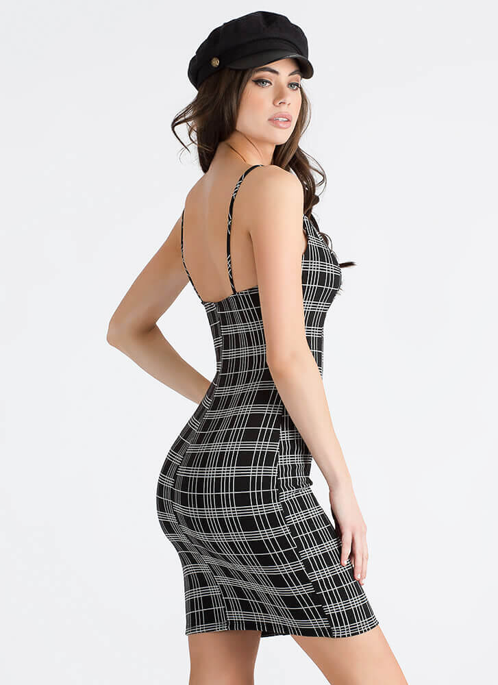 Crossing The Lines Grid Print Dress BLACK (You Saved $17)