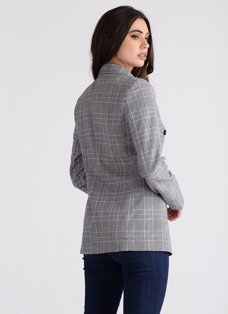 Plaid Day Double-Breasted Blazer GREY