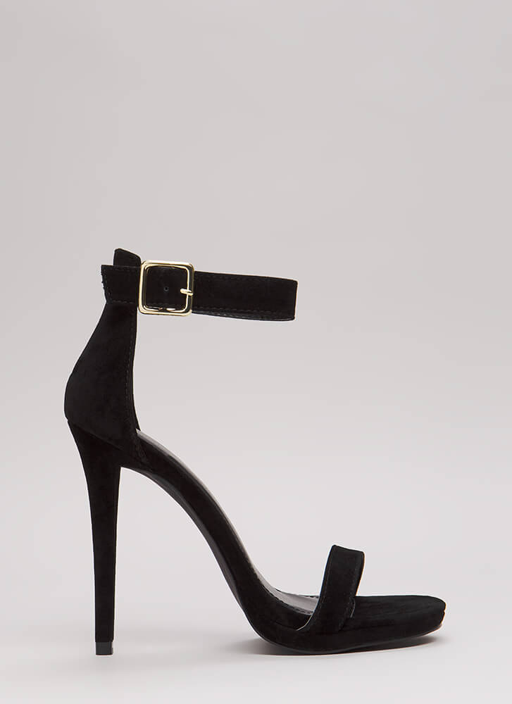 Simple Solution Strappy Faux Suede Heels BLACK