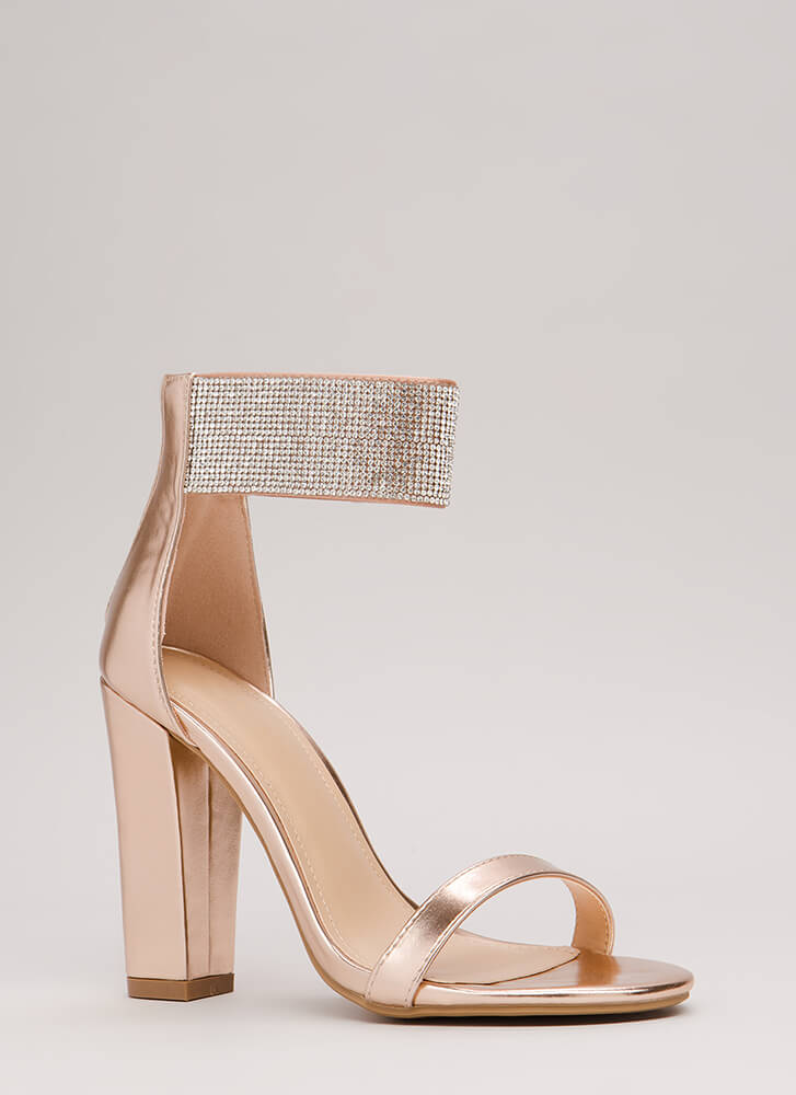 Strappy Sparkle Shiny Rhinestone Heels ROSEGOLD (Final Sale)