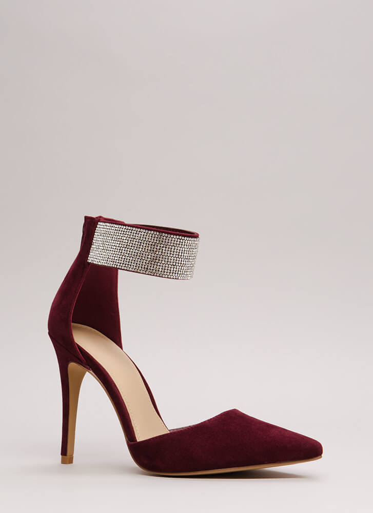 Jewel Appraisal Pointy Rhinestone Heels BURGUNDY