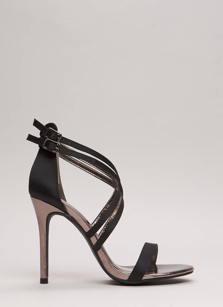 Style Double Strappy Satin Heels BLACK