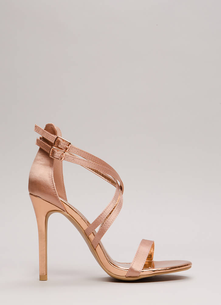 Style Double Strappy Satin Heels MAUVE