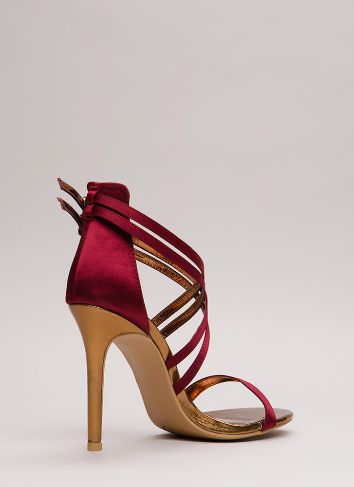 Style Double Strappy Satin Heels WINE