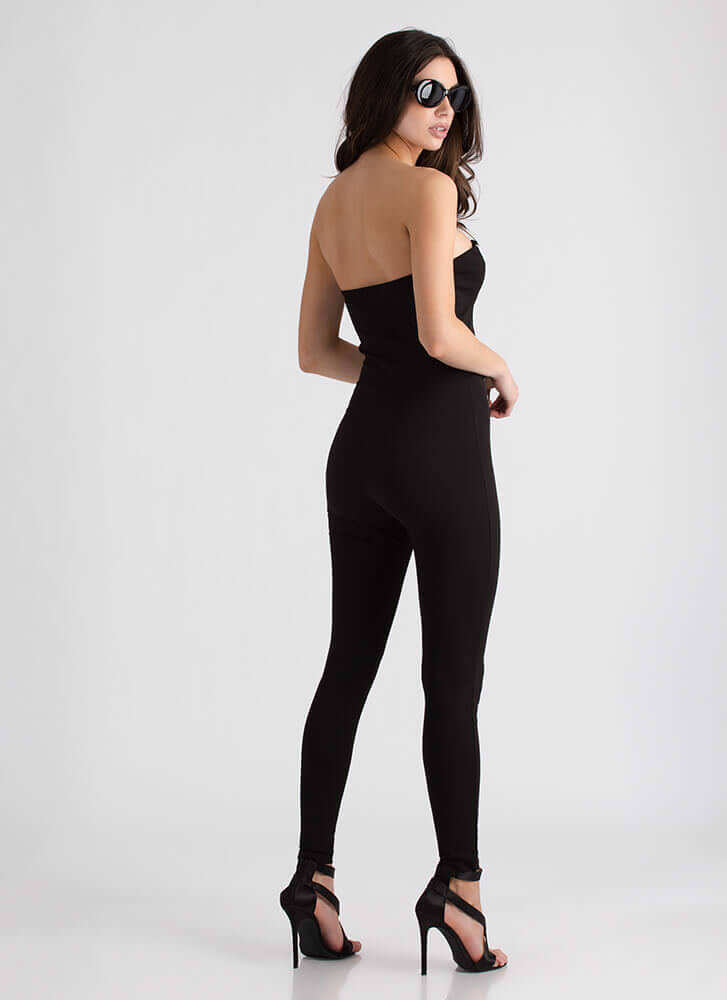 All Lines Up Strapless Plunging Jumpsuit BLACK