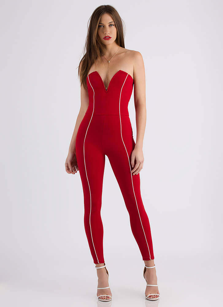 All Lines Up Strapless Plunging Jumpsuit RED
