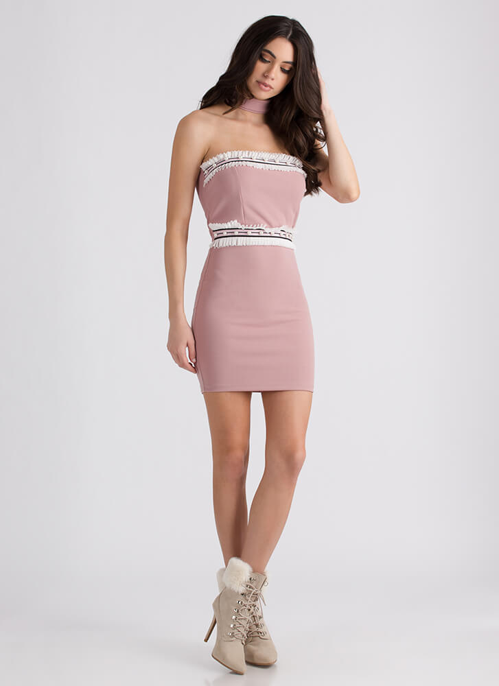 Regal Ruffles Strapless Choker Minidress DUSTYPINK