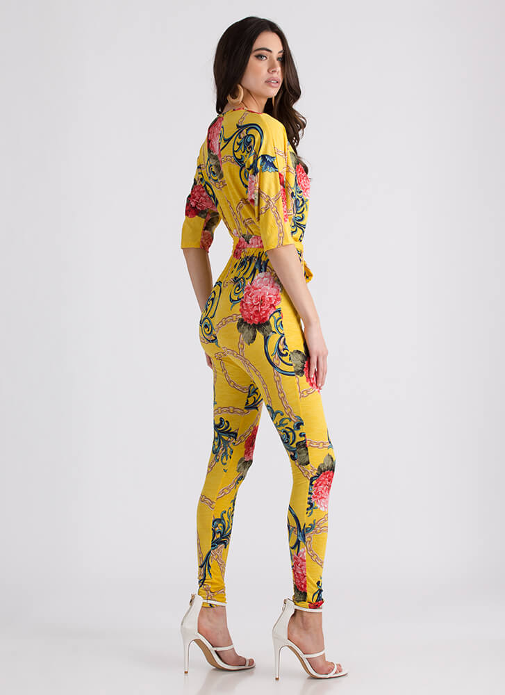 Chain Reaction Swirly Floral Jumpsuit YELLOW (Final Sale)