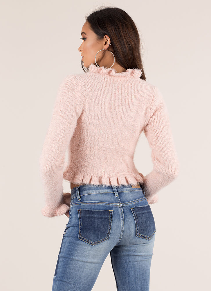 Frill Out Ruffled Fuzzy Knit Sweater BLUSH