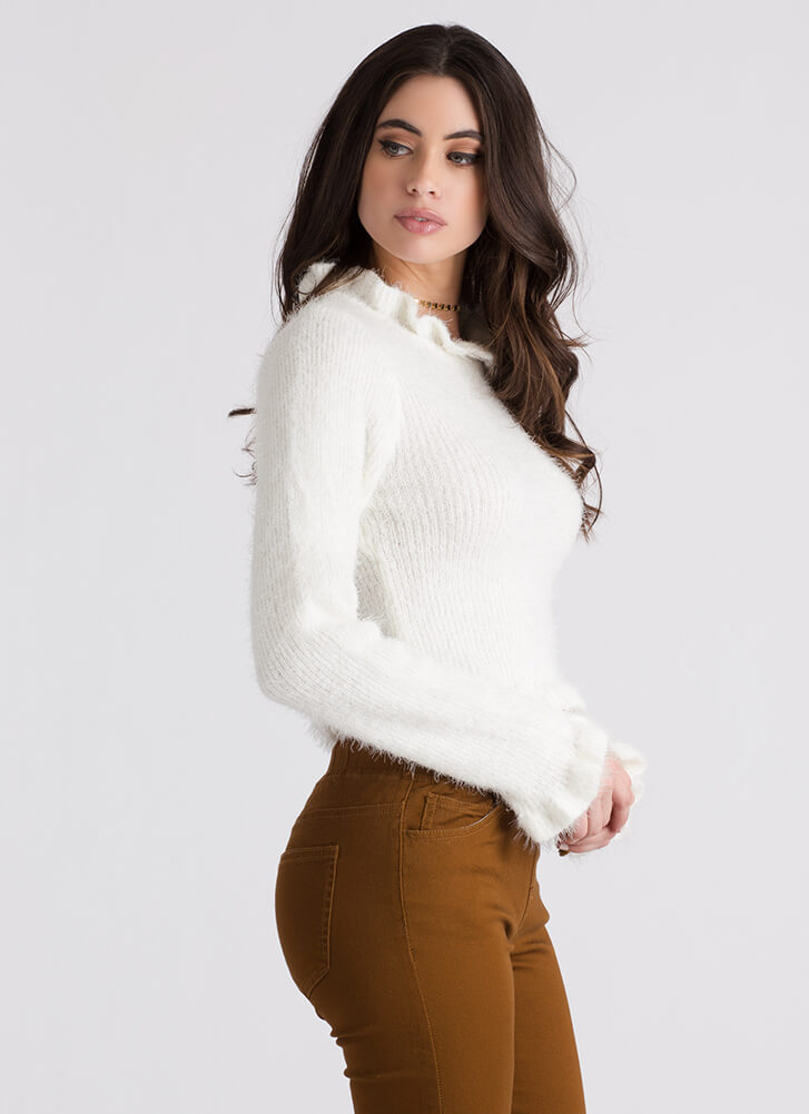 Frill Out Ruffled Fuzzy Knit Sweater IVORY